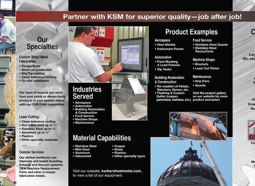 Kerber Sheet Metal 4-panel, Self-mailing Company Brochure - Wise Choice Marketing Solutions.