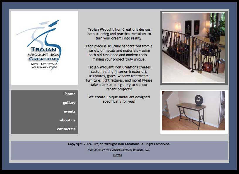 Trojan Wrought Iron Creations web design/development project - Wise Choice Marketing Solutions