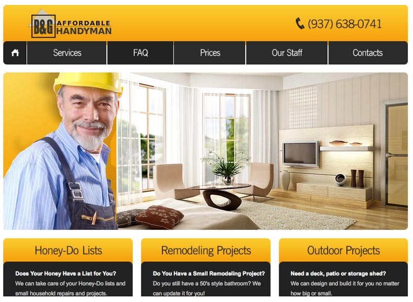 B&G Affordable Handyman website - Wise Choice Marketing Solutions
