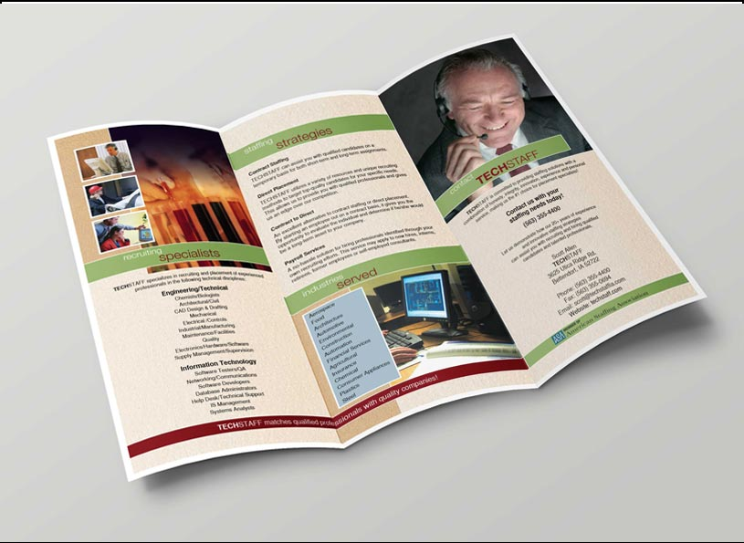TechStaff 3-panel self mailer company brochure - Wise Choice Marketing Solutions