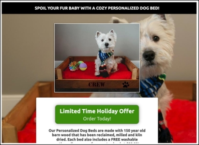 RMPS Click Funnel Ad Holiday Offer Dog Bed